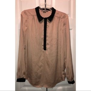 Forever 21 silk material blouse, studs on collar